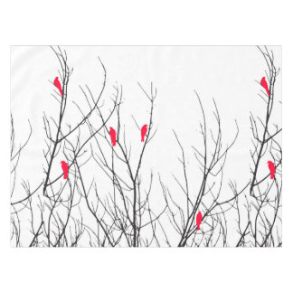 Artistic Bright Red Birds on Tree Branches Tablecloth