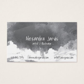 Artistic Brushed Watercolour - Black Business Card