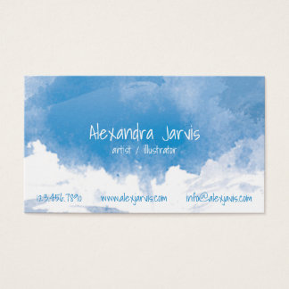 Artistic Brushed Watercolour - Blue Business Card