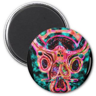 Artistic Bull 6 Cm Round Magnet