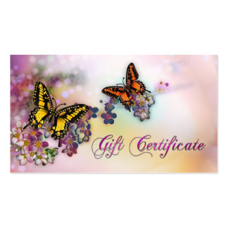Artistic Butterflies Boutique Gift Certificate Pack Of Standard Business Cards
