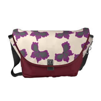 Artistic butterfly design over antique white messenger bags