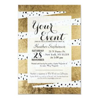Artistic Chic Gold & Black Zigzag & Abstract 9 Cm X 13 Cm Invitation Card