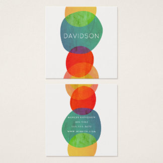 Artistic Circular Shapes Square Business Card