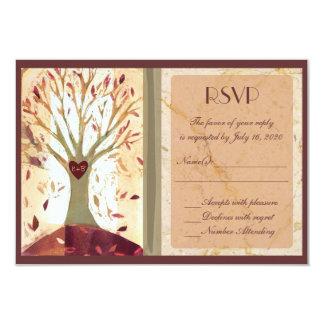 Artistic colorful fall tree wedding RSVP cards 9 Cm X 13 Cm Invitation Card