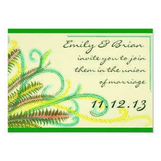 """Artistic colorful fern customizable wedding invite 5"""" x 7"""" invitation card"""