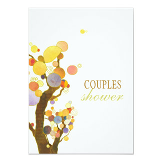 Artistic Colorful Trees Wedding Couples Shower Card