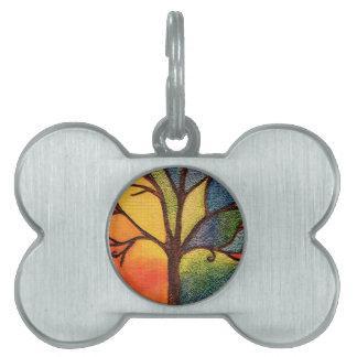 Artistic Colourful Tree Pet Tag