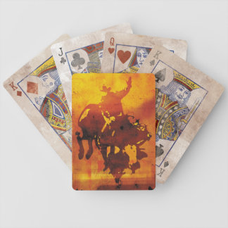 Artistic copper cowboy bull rider playing cards