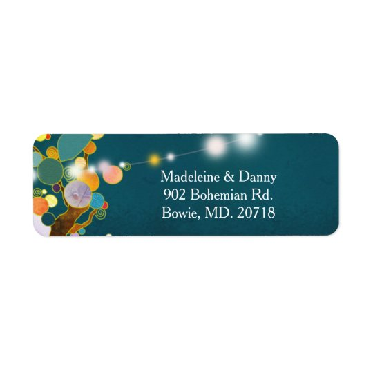 Artistic Country trees Teal Wedding Return Address