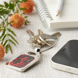 artistic cubes 7 red black (I) Silver-Colored Rectangle Key Ring