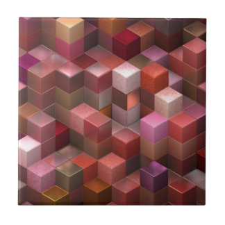 artistic cubes 9 pink red (I) Small Square Tile