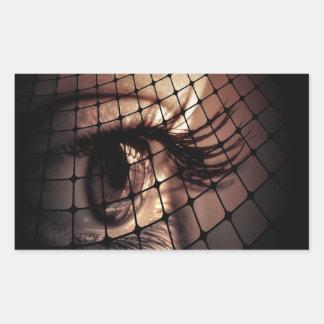 Artistic digital art eye design rectangular sticker