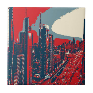 Artistic Dubai Skyline pop art Small Square Tile
