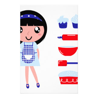 Artistic edition with Kitchen handdrawn girl Stationery Paper