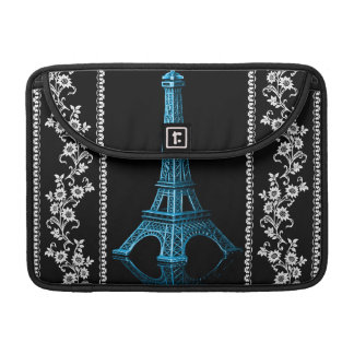 Artistic Eiffel Tower With Floral Borders Sleeve For MacBook Pro