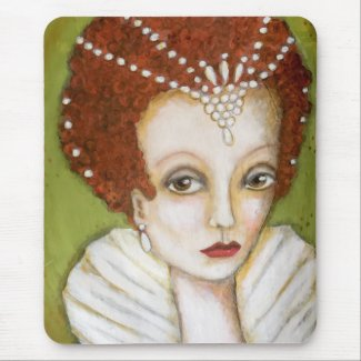 Artistic Elizabeth I Portrait Whimsical Tudor Mouse Mat
