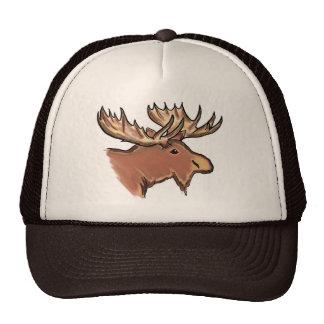 Artistic elk designer trucker style natural hat