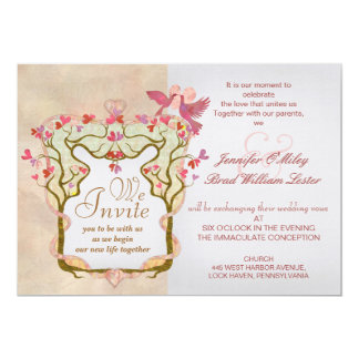 Artistic envelope design wedding tree invitations