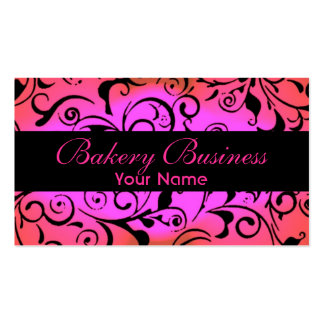 Artistic fade pink damask bakery cards business card