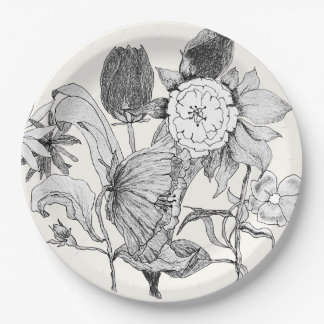 Artistic Floral Bouquet Hand Drawn Flowers 9 Inch Paper Plate