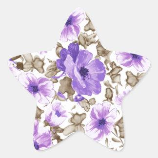 Artistic Floral  Flower Purple Pattern Star Sticker