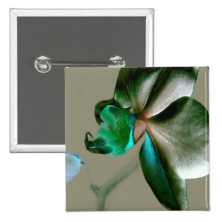 Artistic Flower in Blue, Green and Grey Tones 15 Cm Square Badge