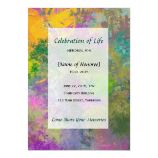 Artistic Flowers Memorial Celebration of Life Card