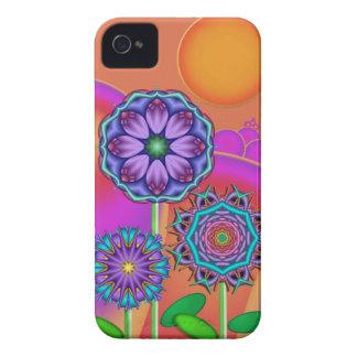 Artistic flowers & Sun iPhone 4 Case