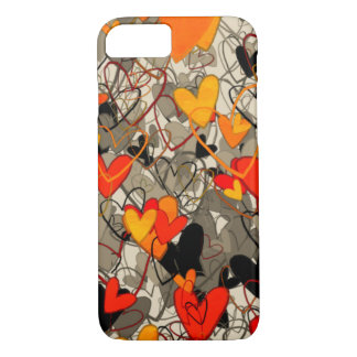 Artistic Free Hand Hearts Dramatic Crazy Red Black iPhone 8/7 Case