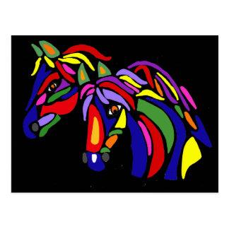 Artistic Fun Horses Abstract Postcard
