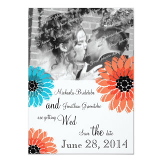 Artistic Garden Coral and Blue Save the Date Card
