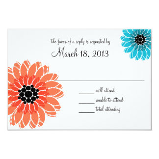 Artistic Garden Coral and Blue Wedding 9 Cm X 13 Cm Invitation Card