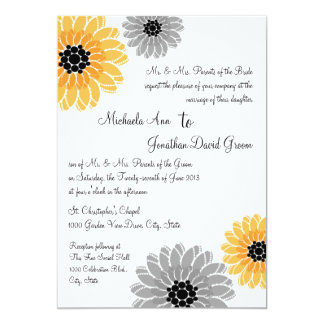 Artistic Garden yellow and gray Wedding 13 Cm X 18 Cm Invitation Card