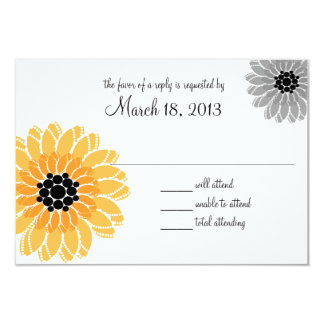 Artistic Garden Yellow and Gray Wedding 9 Cm X 13 Cm Invitation Card