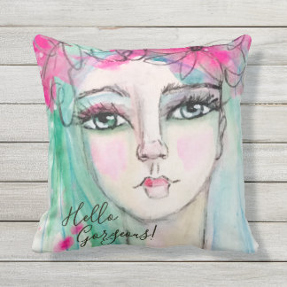 Artistic Girl Flower Crown Whimsical Watercolor Outdoor Cushion