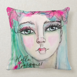 Artistic Girl Pink Flower Crown Whimsical Blue Fun Cushion