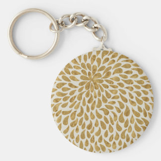 Artistic Gold Abstract Teardrop Flowing Design Basic Round Button Key Ring