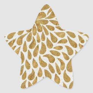 Artistic Gold Abstract Teardrop Flowing Design Star Sticker
