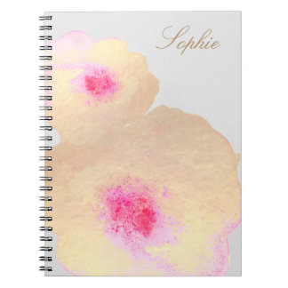 Artistic Gold Floral Watercolor Art Personalized Notebook