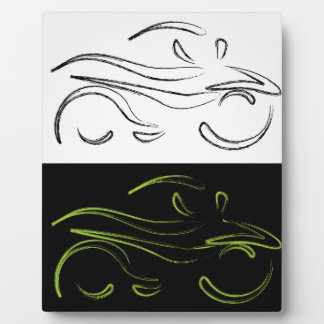 Artistic graphic of motorbike display plaques