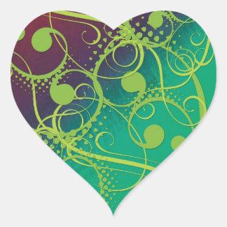 Artistic green colorful swirls heart sticker