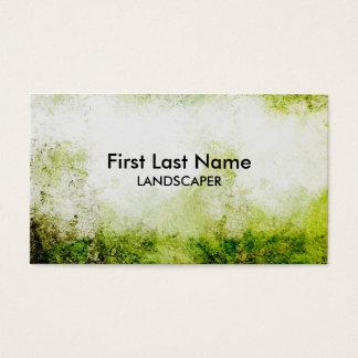 Artistic green grunge landscaper business cards