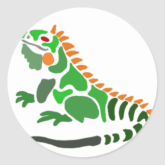 Artistic Green Iguana Art Original Classic Round Sticker