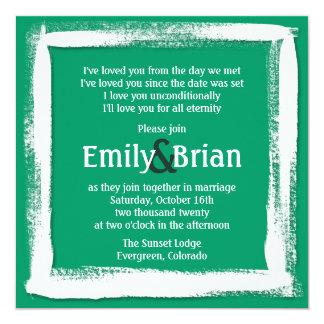Artistic green white paint wedding invitations
