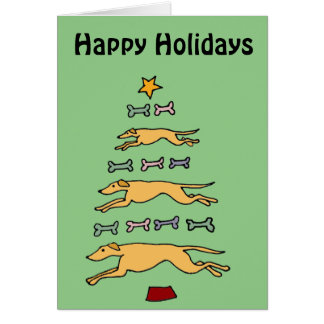 Artistic Greyhound Dog and Bones Christmas Tree Greeting Card