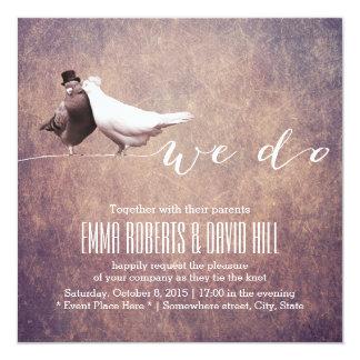 Artistic Grunge Love Birds Wedding Card