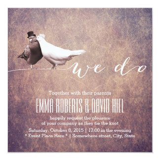 "Artistic Grunge Love Birds Wedding 5.25"" Square Invitation Card"