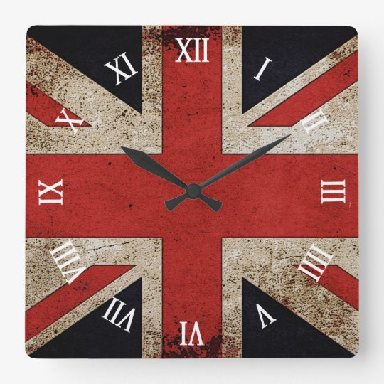 Artistic Grunge UK flag Square Wall Clock