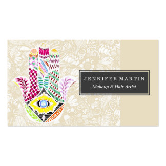 Artistic Hand Drawn Hamsa Hand an Floral Drawings Pack Of Standard Business Cards
